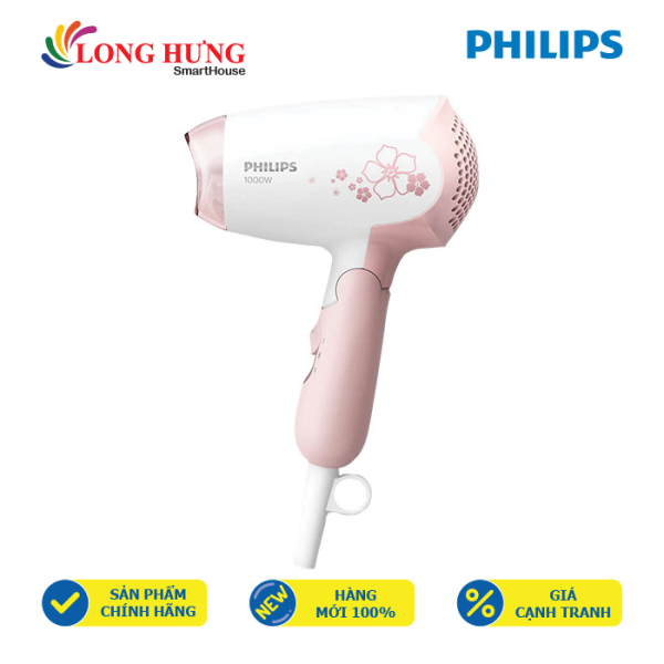 Máy sấy tóc Philips HP8108/00 - Hàng chính hãng - Công suất 1000W, 2 chế độ sấy, tay cầm có thể gấp dễ dàng mang theo khi du lịch nhập khẩu