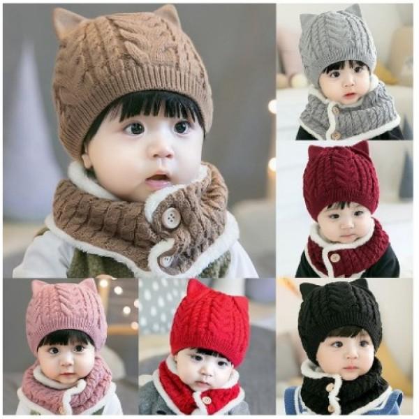 Giá bán [ MŨ CHO BÉ ] Mũ len kèm khăn quàng giữ ấm cổ cho bé trai bé gái có cúc bấm