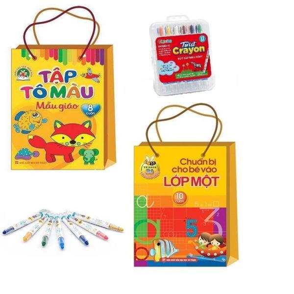 Mua Sách combo: Sách Hay-Tô màu mẫu giáo  hộp bút sáp 12 màu + Túi chuẩn bị cho bé vào lớp một