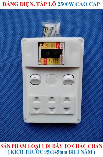 Bảng điện, Táp lô 2500W cao cấp HÀNG LOẠI 1 đi dây TO sẵn sàng đầy đủ + BH 1 năm + CB Atomat 20A chống quá tải + 2 Công tắc + 3 Ổ cắm nhíp chống giãn + 1 Đèn LED báo + Bộ ốc vít lắp đặt (bộ 01 sản phẩm) giá rẻ