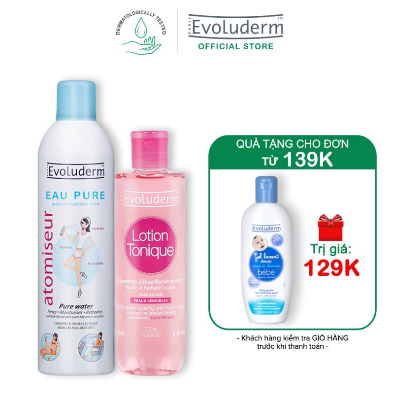[Từ 26.12-03.01-Quà cho đơn hàng 139k] Bộ 2 sản phẩm chăm sóc da cấp nước và dưỡng ẩm dành cho da nhạy cảm Evoluderm 250ML+400ML giá rẻ