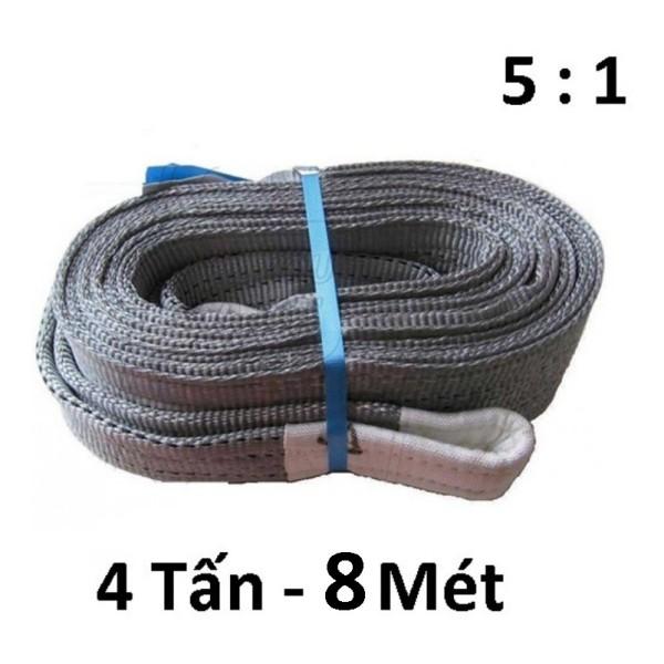 Dây cáp vải cẩu hàng 4 Tấn - bản 100mm - Hệ số 5:1 - 8 Mét