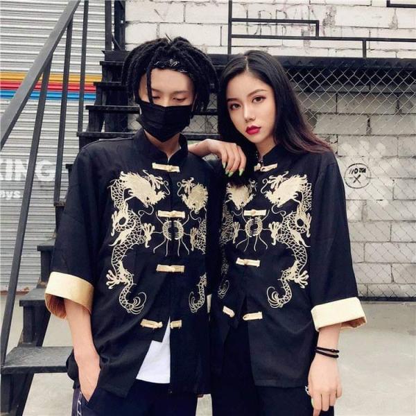 Áo shanghai nam nữ thêu rồng unisex, hán phục cổ trang, cosplay
