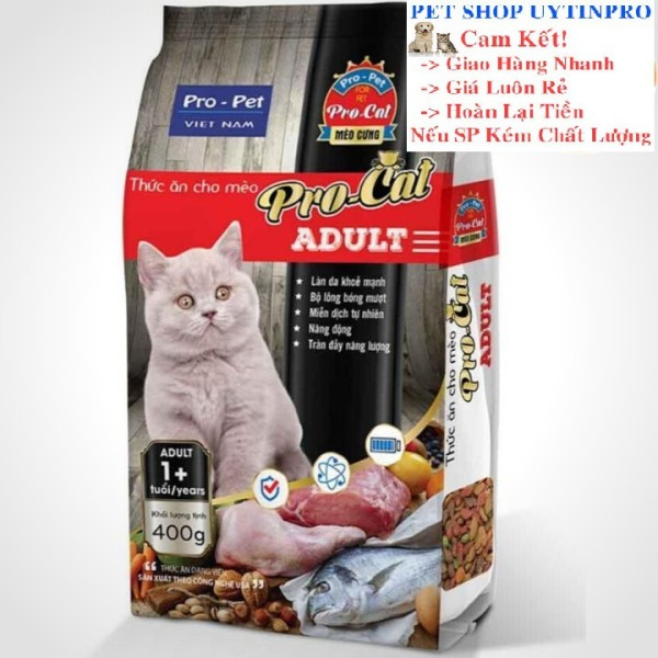 THỨC ĂN HẠT CHO MÈO Pro-Cat Aldult Túi 400g Xuất xứ Pro-Pet Việt Nam