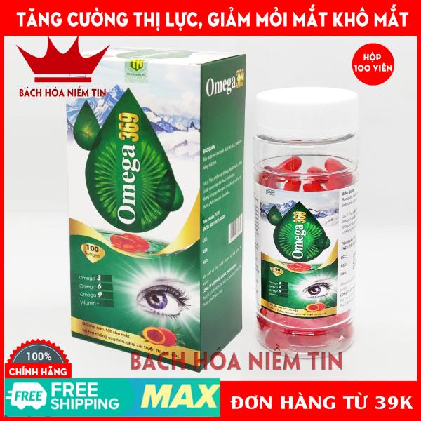 Viên dầu cá Omega 369 dầu gấc đỏ - hộp 100 viên - giúp bổ não, giảm khô mắt, mỏi mắt, tăng cường thị lực hiệu quả - Chuẩn GMP