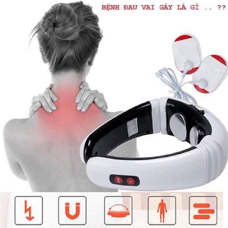 Máy Mát Xa Cổ Vai Gáy, Máy Massage Cầm Tay, Máy Massage Cổ Vai Gáy Xung Điện Từ Cao Cấp [ Tặng 2 miếng dán massage ]