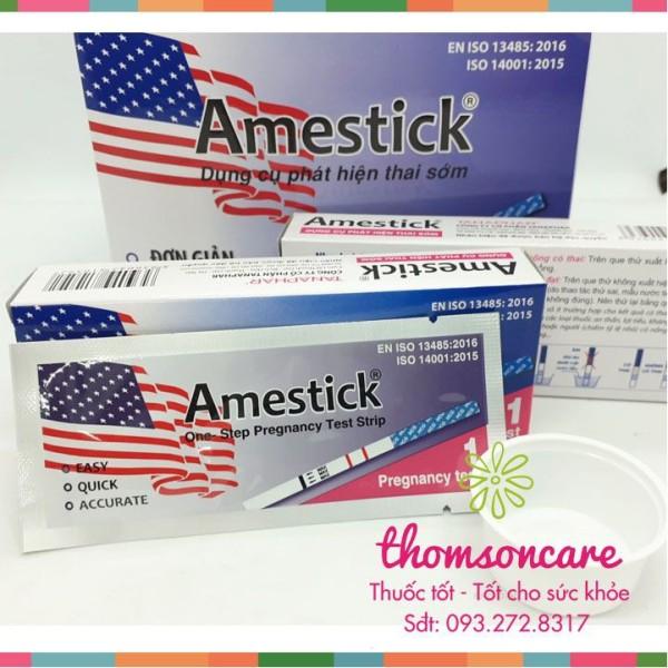 Que thử thai Amestick - test thử thai nhanh, sản phẩm có nguồn gốc xuất xứ rõ ràng, sử dụng dễ dàng, cam kết hàng nhận được giống với mô tả