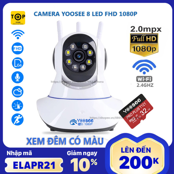 Camera Yoosee mẫu mới 8 led 2.0mp 1080p - xem đêm có màu kèm thẻ nhớ chuyên dụng sản phẩm đang được săn đón chất lượng đảm bảo và cam kết hàng đúng như mô tả