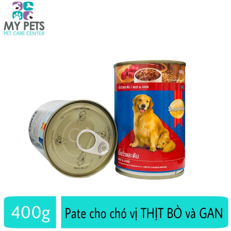 Thức Ăn Pate SmartHeart Hương Vị Thịt Bò & Gan Cho Chó Lớn - lon 400g