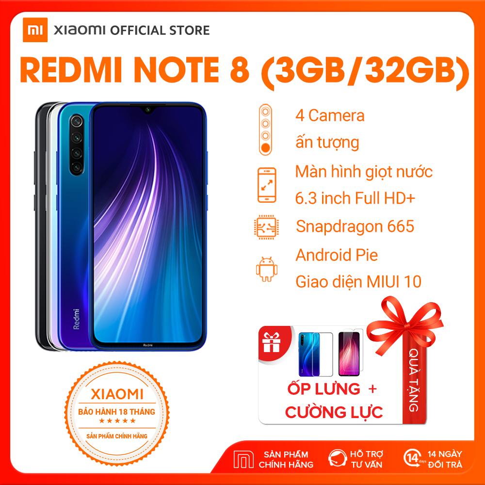 [XIAOMI OFFICIAL]Xiaomi official Điện Thoại Redmi Note 8 (3GB RAM/ 32GB ROM), Xanh, Đen, Trắng_ Hàng chính hãng, bảo hành 18 tháng