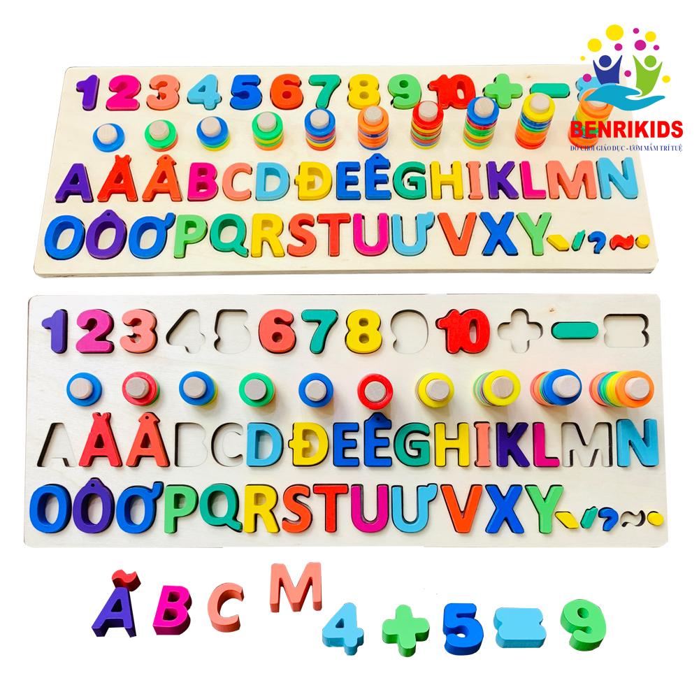 Giáo Cụ Montessori Cột Tính Học Đếm Kết Hợp Chữ Cái Tiếng Việt Kèm 5 Thanh Dấu Giúp Bé Học Ghép Vần Khuyến Mãi Sốc