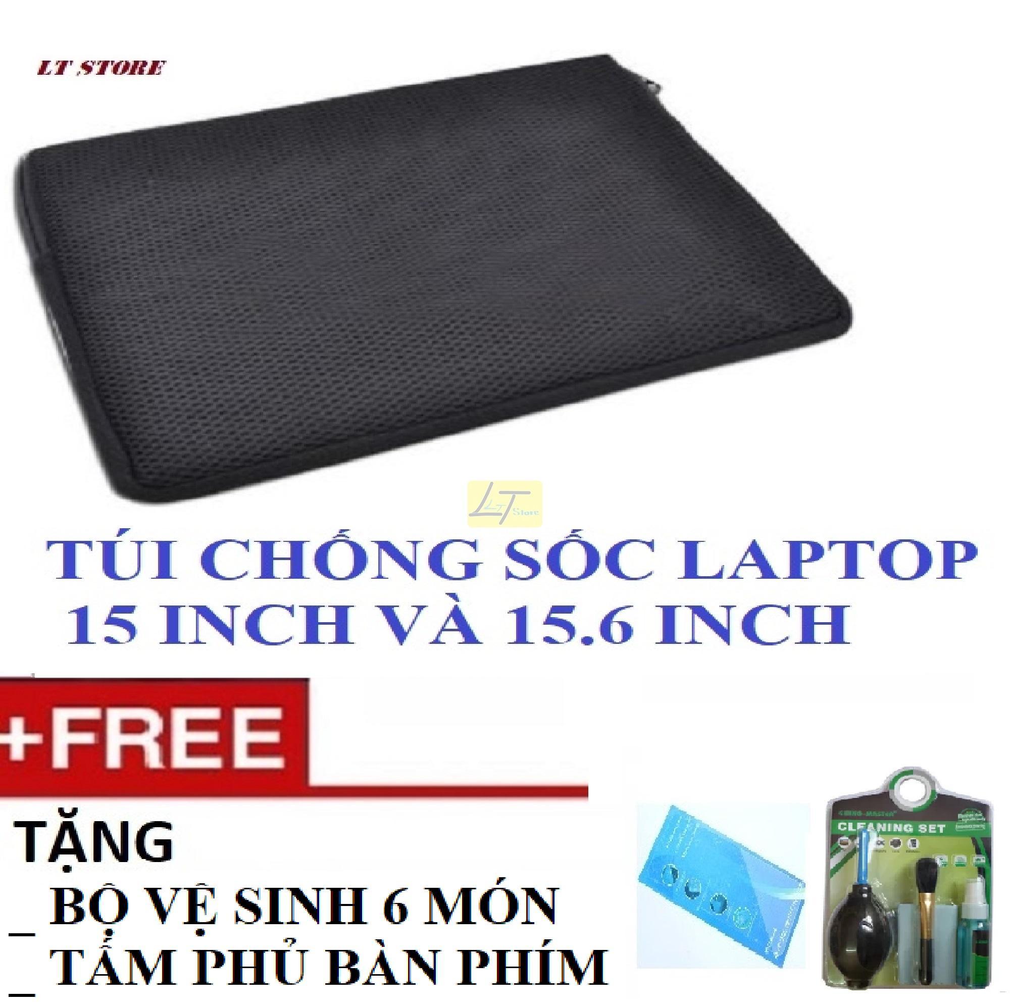 Deal Khuyến Mại Túi Chống Sốc Laptop 15 - 15.6 Inch Tặng Bộ Vệ Sinh 6 Món, Tấm Phủ Bàn Phím Laptop