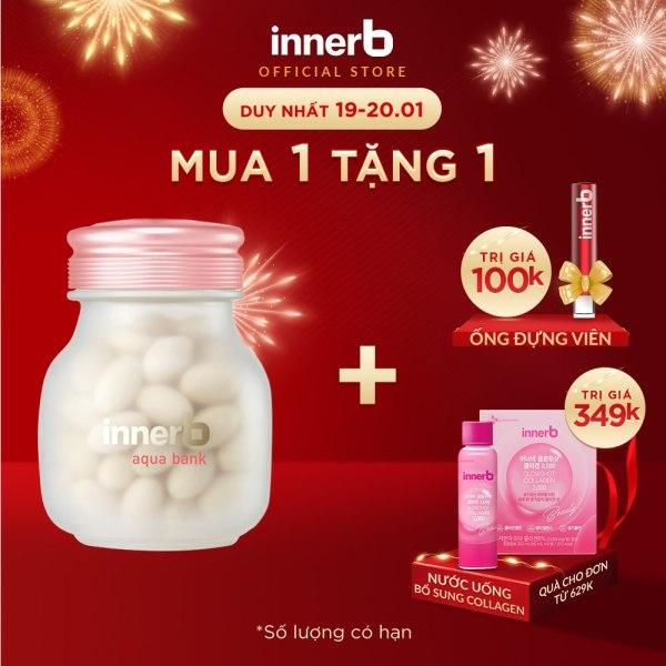 Thực phẩm bảo vệ sức khỏe InnerB Aqua Bank giữ ẩm cho da, 56 viên/ lọ