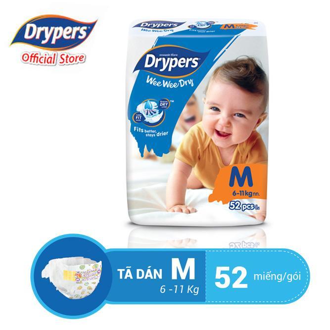 Không Nên Bỏ Lỡ Giá Sốc với Tã Dán Drypers Wee Wee Dry M 52P