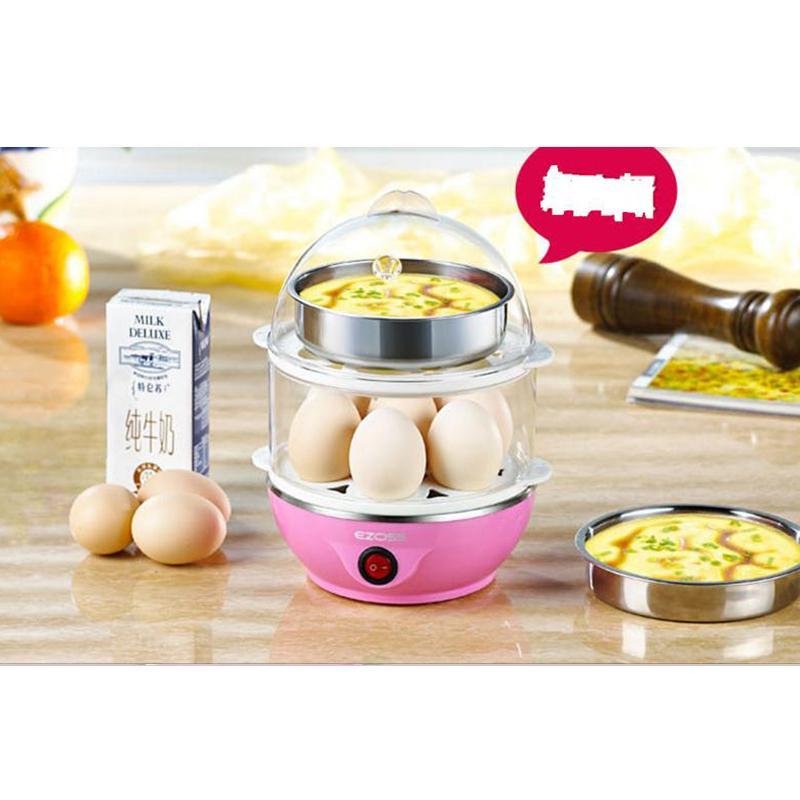 Máy luộc trứng mini kiêm nồi hấp thức ăn đa năng 2 tầng (Hồng)