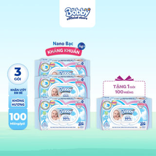 [Tặng THÊM 1 GÓI CÙNG LOẠI] Bộ 3 gói khăn giấy ướt trẻ em Bobby Care Nano Bạc kháng khuẩn KHÔNG MÙI HƯƠNG 100 miếng - Giới hạn 5 sản phẩm khách hàng thumbnail