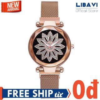 Đồng hồ nữ Candycat C53, đồng hồ mặt tròn mặt hoa, chạy 3 kim, dây đeo lưới kim loại nam châm cao cấp, kháng nước chống trầy nhẹ (nhiều màu) thumbnail
