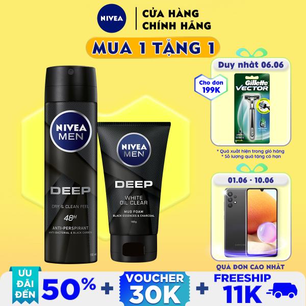 Bộ đôi NIVEA MEN Than Hoạt Tính Xịt Ngăn Mùi (150ml) - 80027 & Sữa Rửa Mặt(100G) - 84415