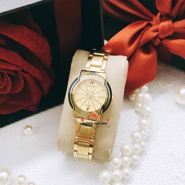 [FREESHIP Toàn Quốc] Đồng hồ nữ Halei dây vàng mặt tròn thời trang sang chảnh, chống nước chống xước bán chạy