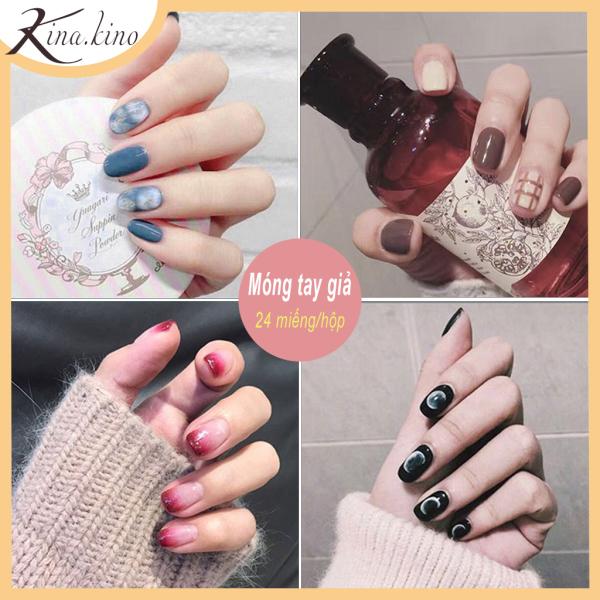 Bộ 24 móng tay giả cực xinh (kèm keo - dùng nhiều lần)- Kinakino cao cấp
