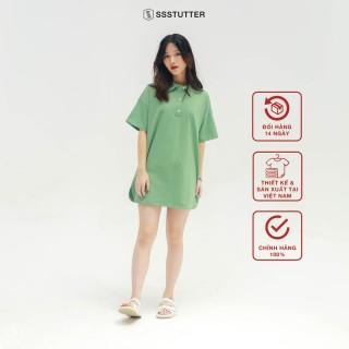 Áo Polo tay lỡ nữ SSStutter 2 màu chất Cotton Oversize UNI TEE thumbnail