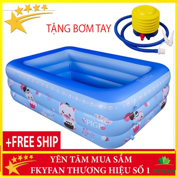 [MIỄN SHIP +Kèm Bơm TAY] Bể phao bơi cho bé 3 tầng bể bơi trẻ em 1m5 cho bé, bể bơi phao gia đình hình chữ nhật 3 tầng loại dày 150cmx110cmx50cm + Tặng keo và miếng vá