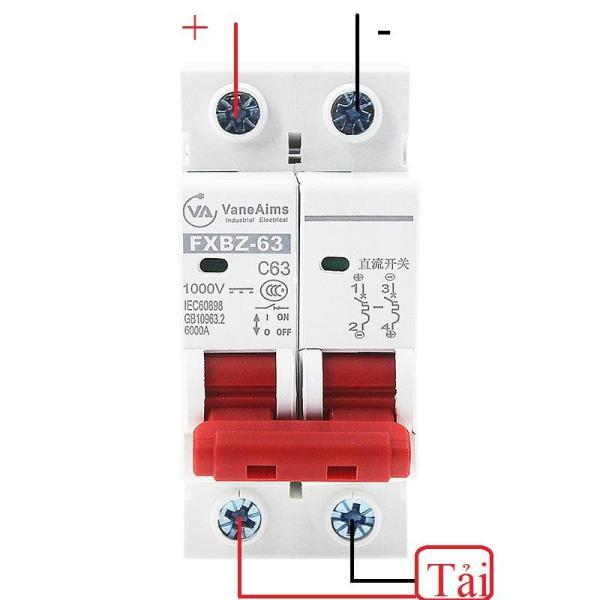 Bộ ngắt mạch CB DC 1000V điện một chiều cầu dao chuyên dụng cho Solar Năng Lượng Mặt Trời FXBZ-63/2P 25A 40A 63A, át 1 chiều, aptomat 1 chiều, sạc năng lượng mặt trời, pin năng lượng măt trời