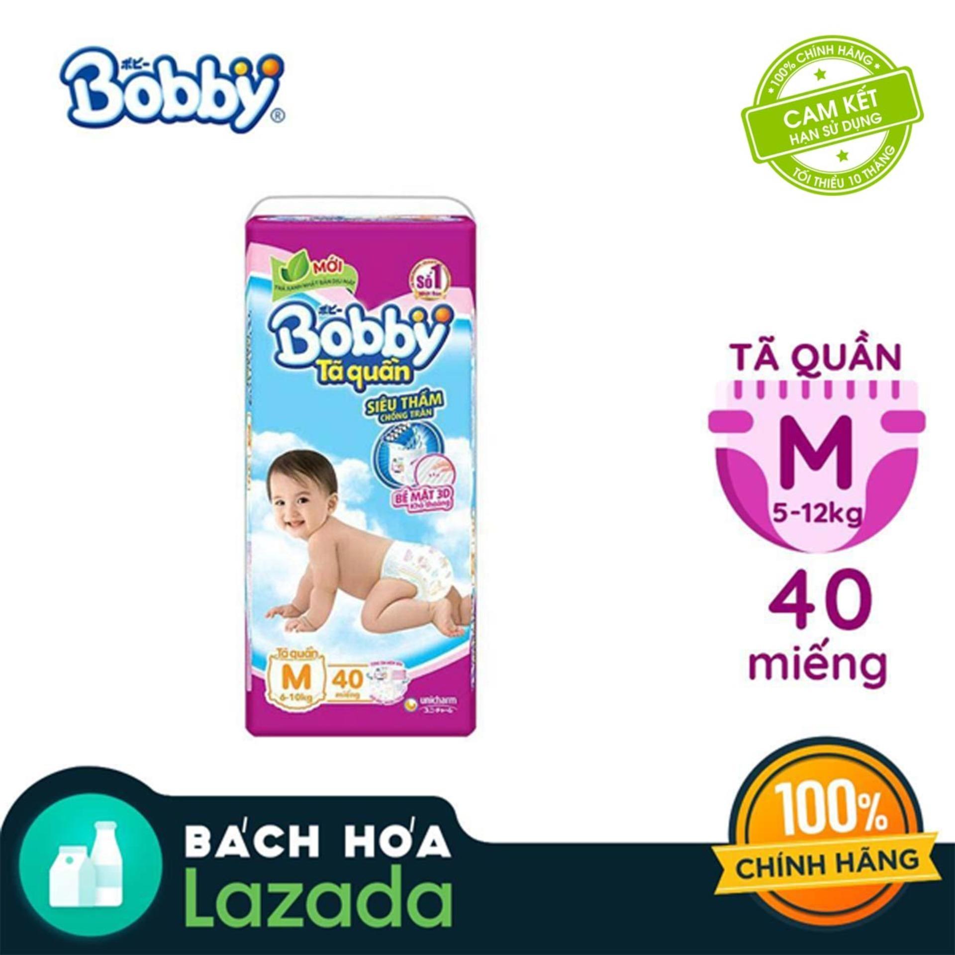 Tã/Bỉm quần Bobby siêu thấm gói lớn M-40 miếng (6...