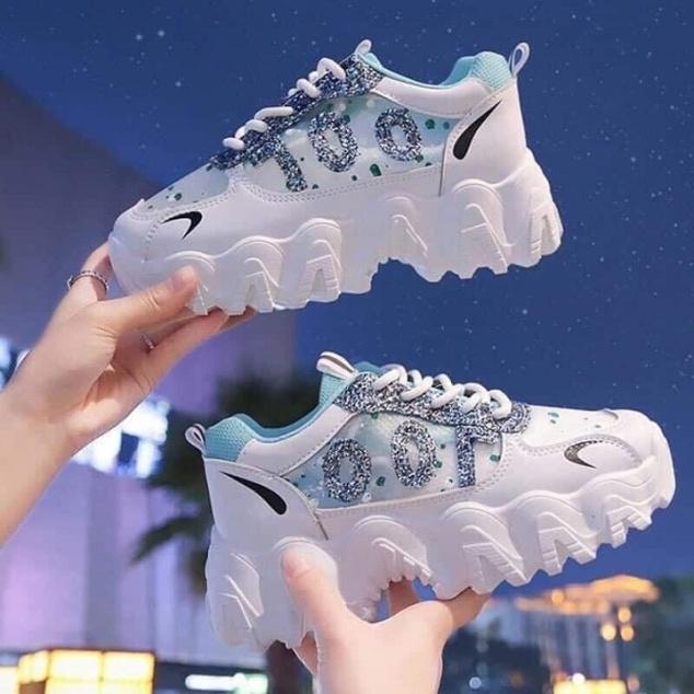 Giày thể thao , giày sneaker đế sóng độn đế 5cm mẫu mới nhũ lấp lánh cực đẹp giá rẻ