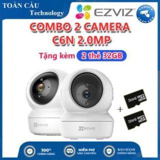 [100% CHÍNH HÃNG] Combo 2 Camera WIFI EZVIZ C6N Độ Phân Giải 2MP Tặng Kèm 2 Thẻ 32GB - Camera Toàn Cầu thumbnail
