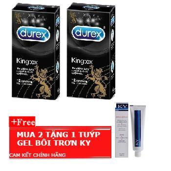 Combo 2 Hộp Bao Cao Su Durex Kingtex + Tặng Gel Bôi Trơn KY nhập khẩu
