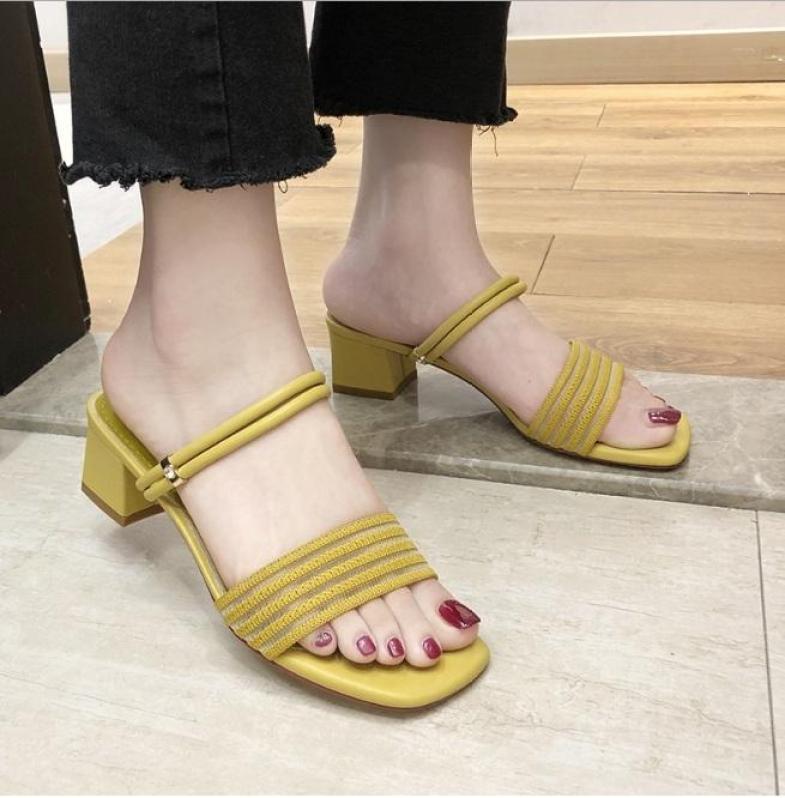 Sandal gót vuông quai cách điệu mang 2 kiểu - Giày cao gót 5 phân - 3 màu vàng - kem - đen - Đủ size 35-39 - Bảo hành trong 12 tháng - Elsa ES1807 giá rẻ