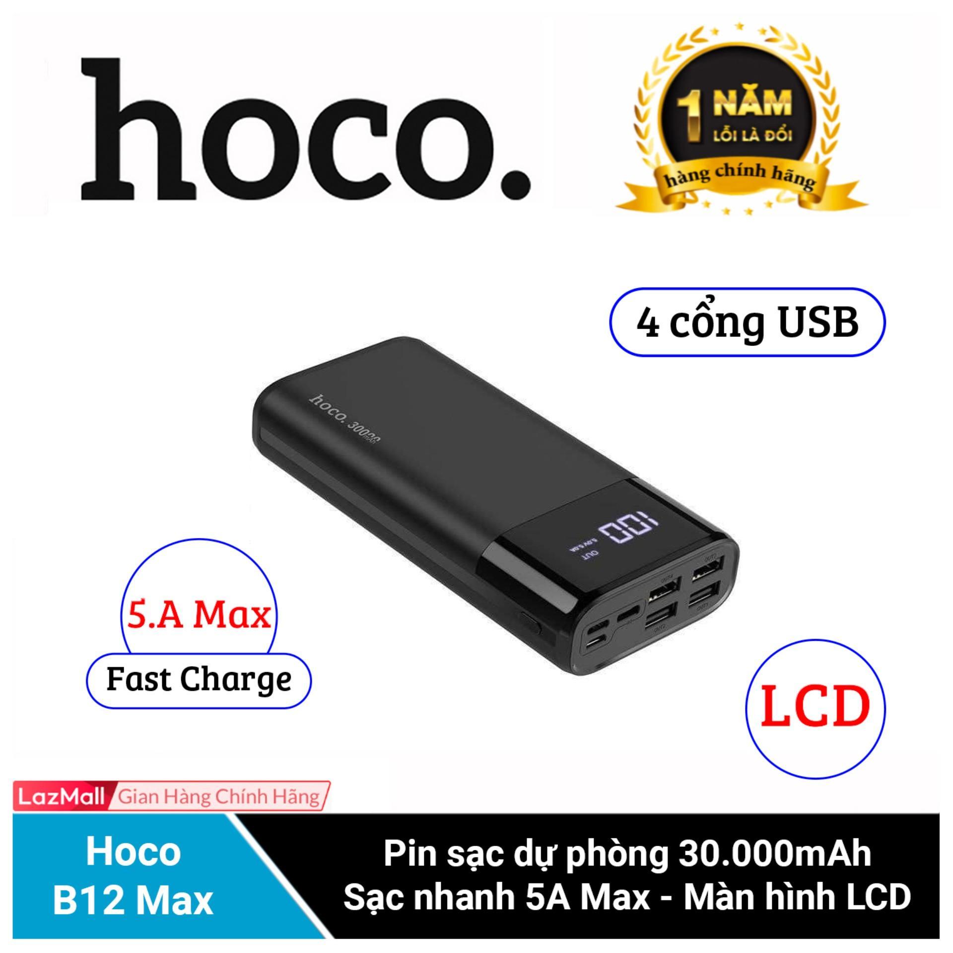 Pin Sạc Dự Phòng Hoco B12 Max - Dung Lượng 30.000 mAh ( 4 cổng USB , Hỗ trợ sạc nhanh 5A Max )