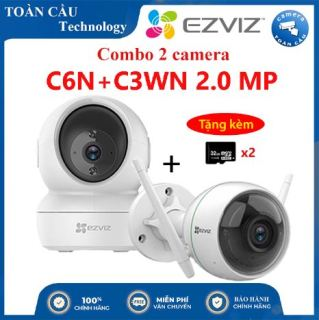 [100% CHÍNH HÃNG] Combo Camera WIFI EZVIZ C6N Độ Phân Giải 2MP + C3WN Độ Phân Giải 2MP Tặng Kèm 2 Thẻ Nhớ 32GB - Camera Toàn Cầu thumbnail