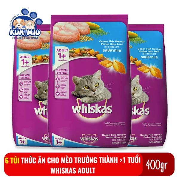 Combo 6 gói Thức ăn cho mèo trưởng thành trên 1 tuổi Whiskas Adult túi 400gr