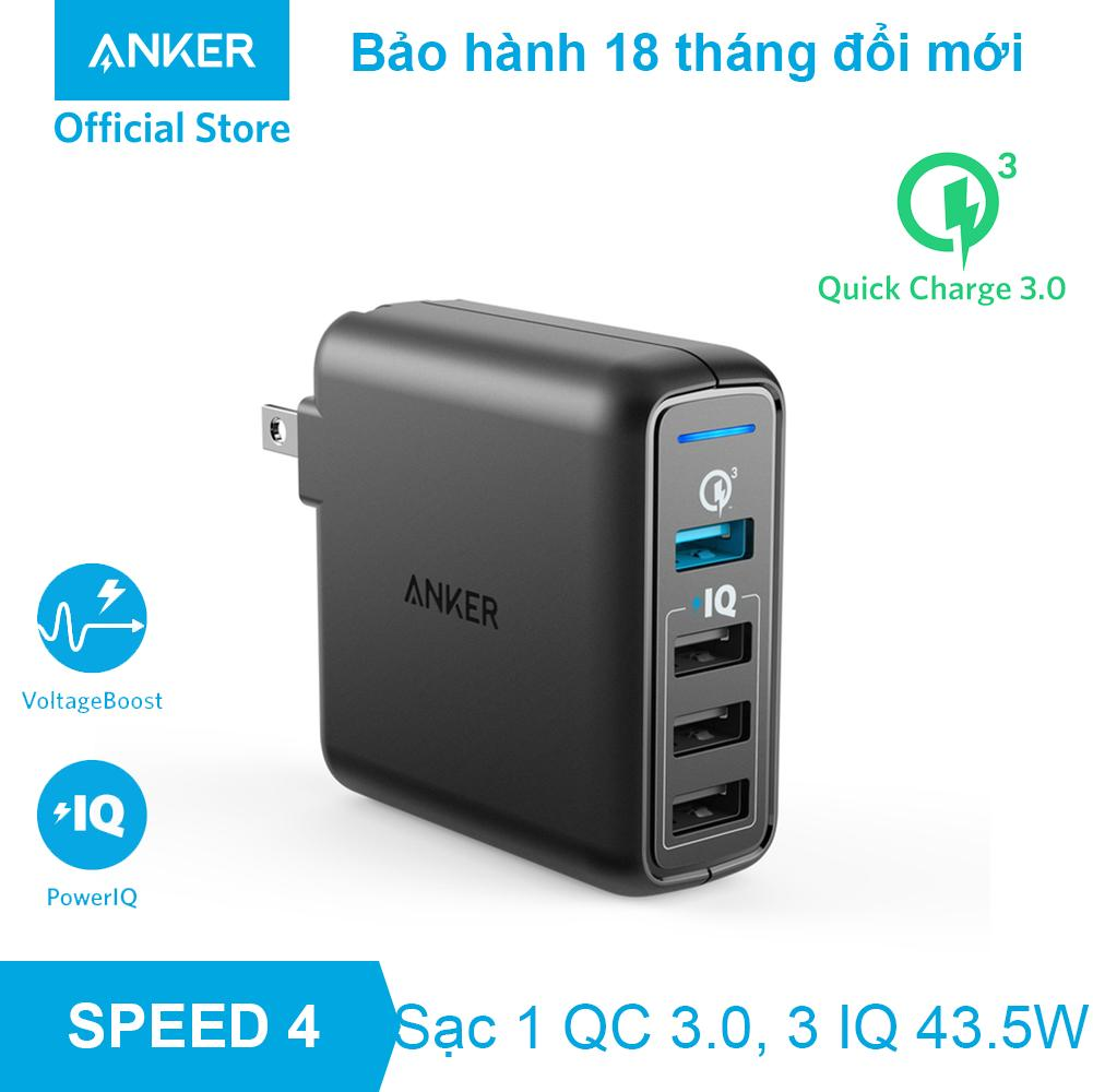 Sạc ANKER PowerPort Speed 4 cổng 43.5W Quick Charge 3.0 và PowerIQ - A2040