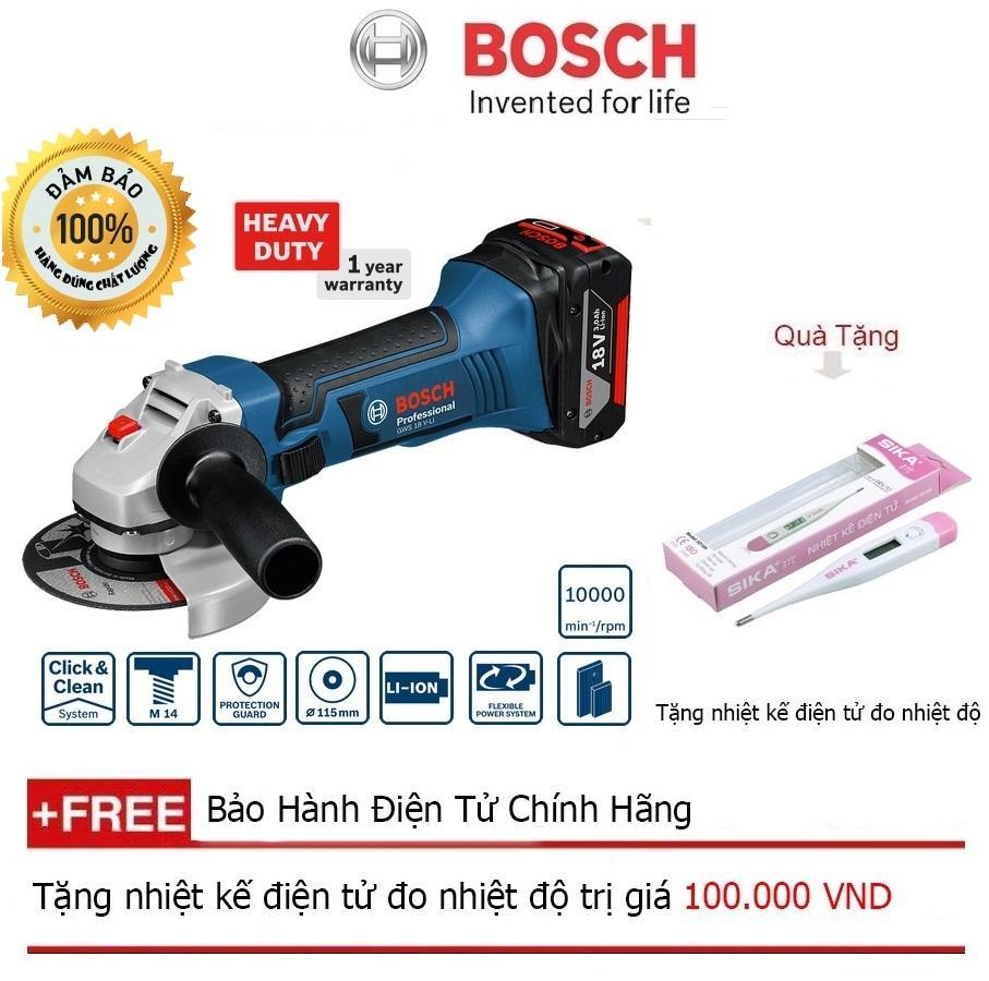 Máy mài góc chạy pin Bosch GWS 18V-LI SET + Quà tặng nhiệt kế điện tử