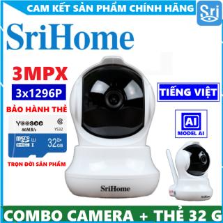 [TÙY CHỌN KÈM THẺ NHỚ 32GB YOOSEE CHÍNH HÃNG - BẢO HÀNH 2 NĂM] Camera Wifi Camera Ip Srihome SH020 3.0 MPX 1296 Pixel - Xoay 360 - Cảm biến Ai - Quay Đêm - Đàm Thoại - Cổng Lans - Góc Siêu Rộng 110 thumbnail