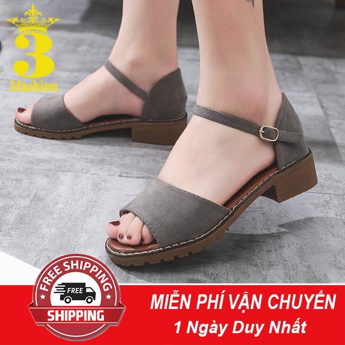 [Mẫu HOT⚡] Giày Sandal Nữ Da Mềm Gót Vuông 3,5CM Thiết Kế Trẻ Trung - 2923