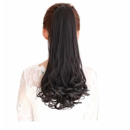[ Đen Tự Nhiên 48 cm ]Tóc Cột , tóc Giả Cao Cấp Màu