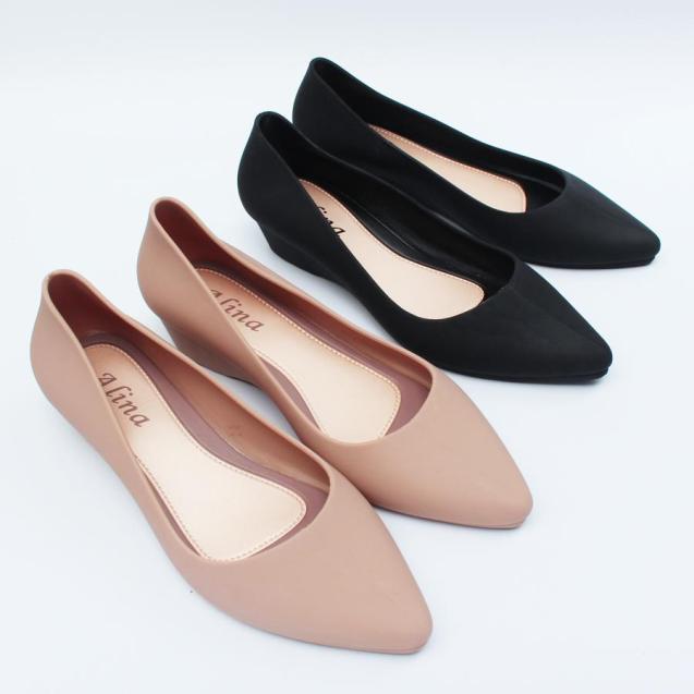 giày công sở giày đi mưa cao 3p màu đen, kem (ảnh thật) kiểu chống trơn trượt size 36 đến 40 mẫu V158 giá rẻ