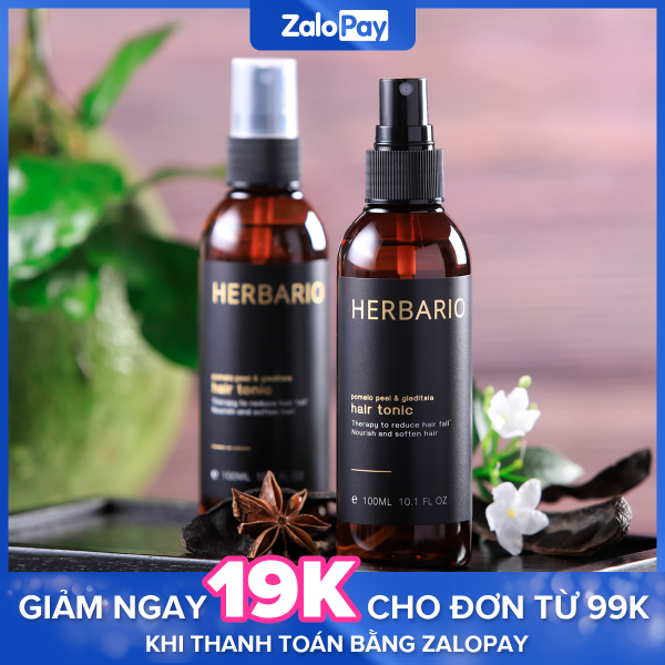 Nước dưỡng tóc Vỏ Bưởi và Bồ Kết Herbario 100ml ngăn rụng tóc, giúp tóc mọc nhanh hơn nhập khẩu