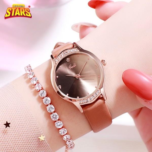 Nơi bán Đồng hồ nữ Gedi gradient chính hãng cá tính sang trọng giá rẻ dây da đính đá hồng dần[Tặng kèm hộp] Honey Start 549355