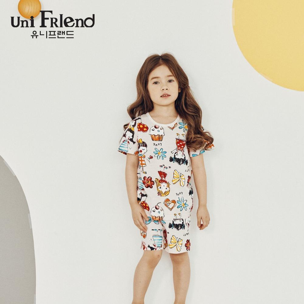 Giá bán Đồ bộ mặc nhà bé gái Unifriend thun ngắn hoạ tiết cô bé bánh kem U9SSTS20