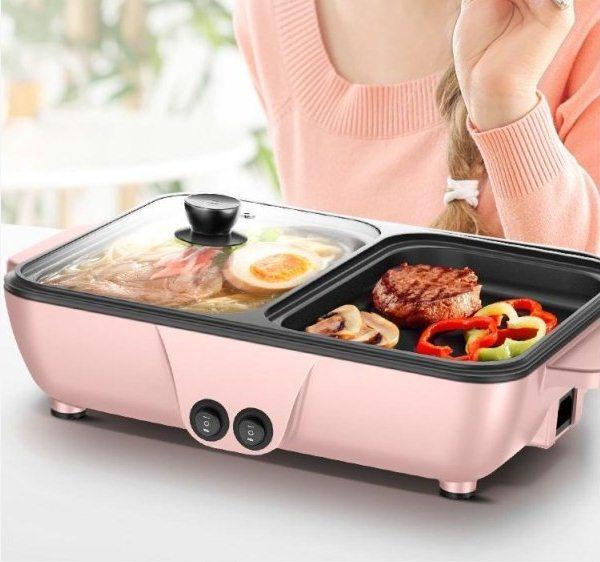 Bếp Lẩu Nướng 2 IN 1, bếp nướng lẩu điện đa năng -  Bếp Nướng Lẩu Tiện Dụng (2IN1) - Màu Đen