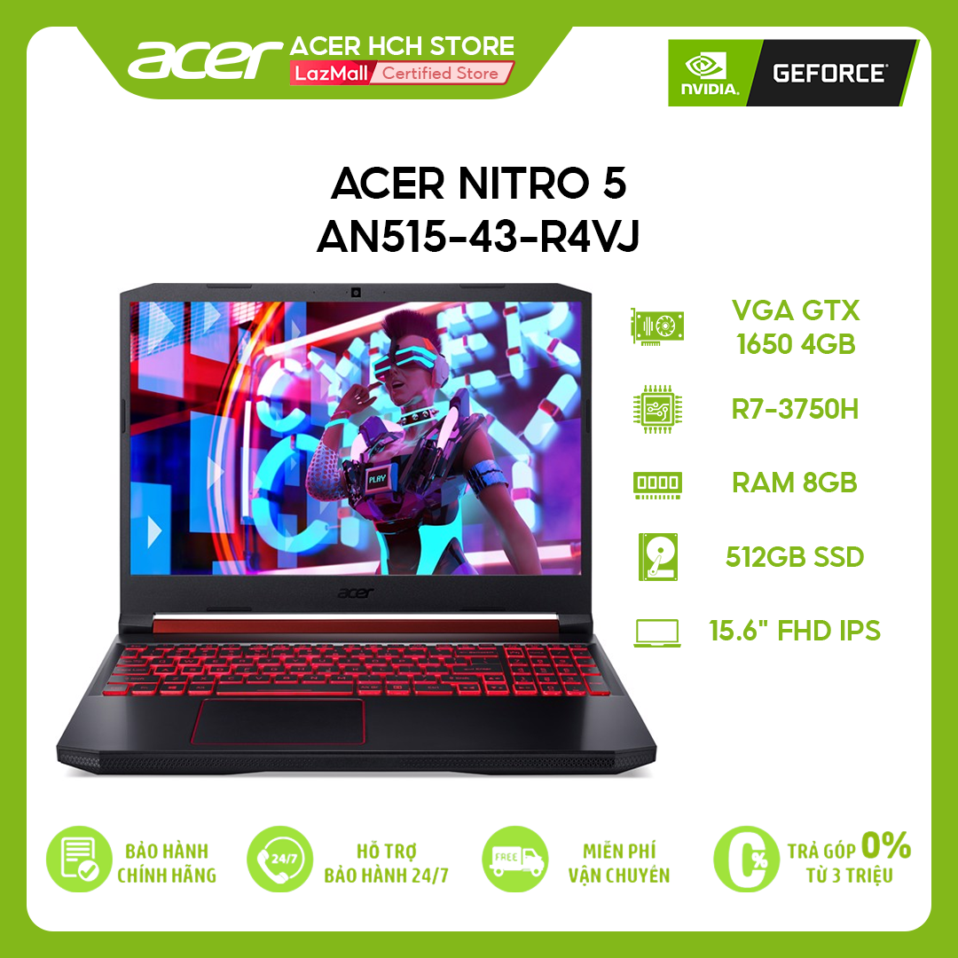 "[VOUCHER 10% từ 27-29.03] Laptop Gaming Acer Nitro 5 AN515-43-R4VJ R7-3750H   8GB   512GB   VGA GTX 1650 4GB   15.6"" FHD   Win 10"
