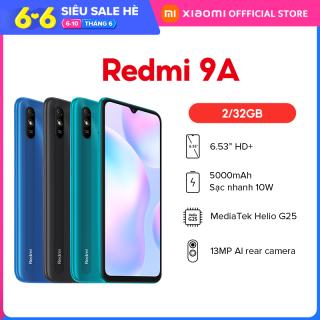 """Điện thoại Xiaomi Redmi 9A 2GB/32GB - Chip MediaTek Helio G25 8 nhân (12 nm), Màn hình 6.53"""" HD+, Camera 13MP, Pin 5000 mAh, Cảm biến nhận diện khuôn mặt - BH Chính hãng 18 tháng"""