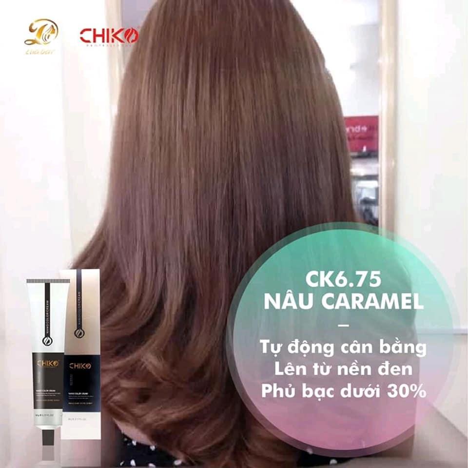 Thuốc nhuộm tóc màu nâu caramel (CK 6.75) KHÔNG TẨY + TẶNG kèm trợ nhuộm cao cấp