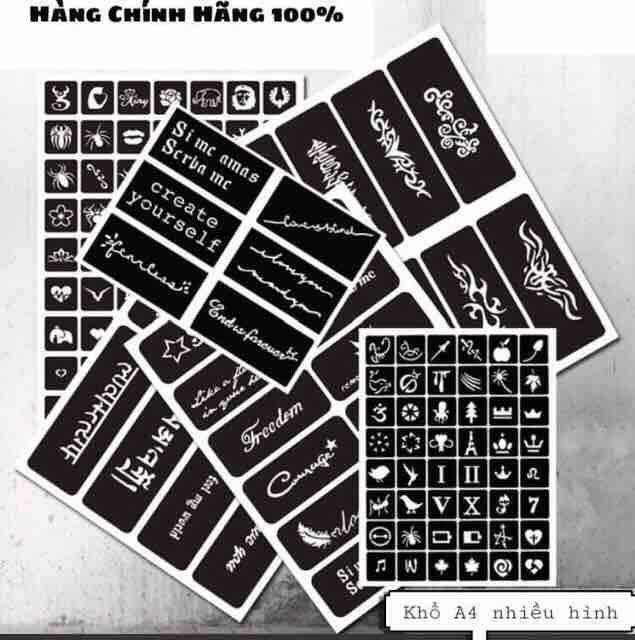 Mua (InBOX đe chọn mẫu) 1 bảng a4 nhiều hình decan henna