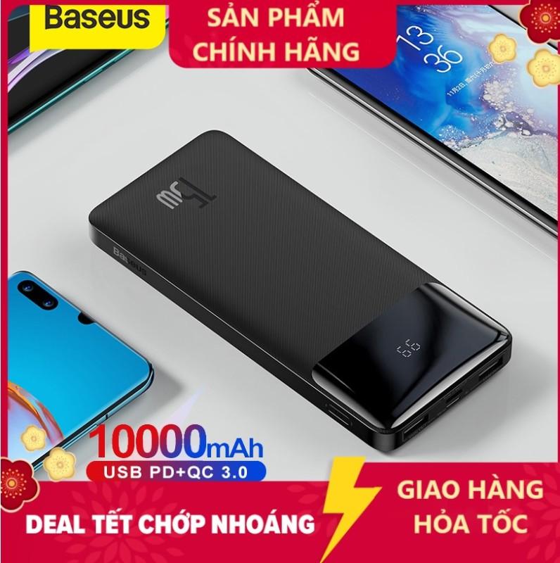 Pin sạc dự phòng Baseus dung lượng 10000mAh màn hình LED hiển thị công suất 15W sạc nhanh QC PD cho iPhone Samsung Xiaomi Bipow Digital Display LED abshop